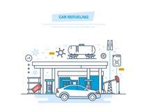 Reaprovisionamiento del coche con gasolina en la estación de servicio Servicio del coche, tienda stock de ilustración