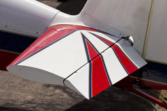 Rear aileron on acrobatic plane tail wing Royalty Free Stock Images