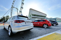Rear of Audi A3 Sportback on display at A3 Ttraktion Zone event Royalty Free Stock Photos