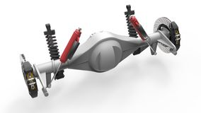 Rear axle assembly with suspension and brakes. Red dampers. 3d illustration. Rear axle assembly with suspension and brakes. Red dampers. 3d illustration Royalty Free Stock Photography