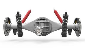 Rear axle assembly with suspension and brakes. Red dampers. 3d illustration. Stock Photo