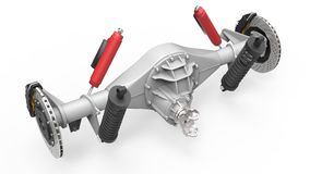Rear axle assembly with suspension and brakes. Red dampers. 3d illustration. Royalty Free Stock Photography