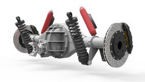Rear axle assembly with suspension and brakes. Red dampers. 3d illustration. Royalty Free Stock Photo