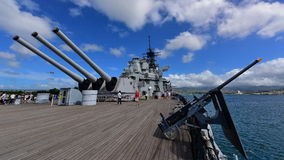 Rear battery of Mark 7 guns on USS Missouri. OAHU - NOVEMBER 19: Rear battery of Mark 7 guns on USS Missouri on November 19, 2015 in Honolulu, United States of royalty free stock image