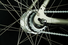 Rear bicycle wheel parts Stock Photography