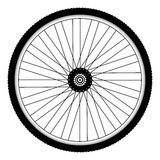 Rear bicycle wheel with spiked bicycle tire. Vector Bike rubber. Mountain tyre. Valve. Fitness cycle. MTB. Mountainbike royalty free illustration