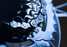 Rear bike cassette with chain. macro Royalty Free Stock Images