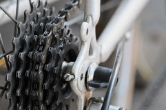 Rear bike cassette on the wheel with chain Royalty Free Stock Image