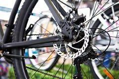 Rear brake disk of mountain bike. Brake disk of rear wheel sport mountain bike in shop Royalty Free Stock Image