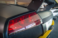 The rear brake lights of sports car Lamborghini Murcielago PL650R, 2007. Stock Photography