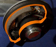 Rear car brakes cutout. Common rear brakes type, drum with brake pads, by Knott Stock Images