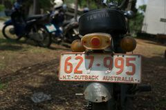 Rear of Circa mid 1960 classic and vintage Yamaha motorcycle. CHONBURI, THAILAND - MARCH 14, 2018 : Rear of Circa mid 1960 classic and vintage Yamaha motorcycle stock image