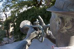 Rear close up picture of a Trumpet player statue in Kitano district of Kobe, Japan stock photography