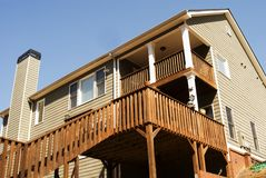 Rear Deck Area of Home. Back of a house with a double deck area royalty free stock photos