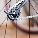 Rear Derailleur And Chain Of Mountain Bike Stock Photo