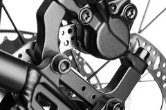 Rear disc brake bike. Close-up on the rear disc brake bicycle Stock Photo