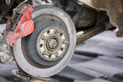 Rear disc brakes on a rally car Royalty Free Stock Photography