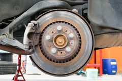 Rear disk and caliper brake. Royalty Free Stock Photography