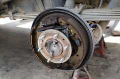Rear drum brake assembly. On pick-up truck Stock Images