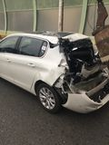 Rear end accident. Totalled destroyed car royalty free stock images