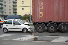 A rear-end collision royalty free stock photos