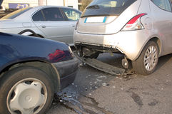Rear-end collision. In Milan urban area, Italy stock images