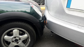 Rear-end collision. Between two cars stock images