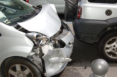 Rear-end collision. Between two cars royalty free stock photos