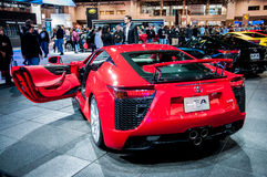 Rear end of Lexus LFA. Photo Taken at Chicago Auto Show in 2012 stock photography