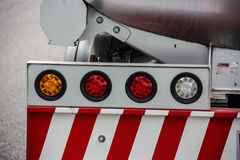 Rear end of red firetruck Stock Photo