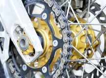 Rear enduro bike wheel. Close up image. Royalty Free Stock Image