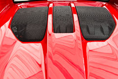 Rear Engine Hood. Of A Red Sports Car stock images