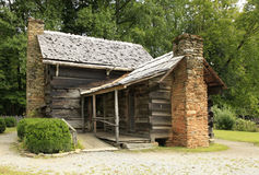 Rear Entrance to a Pioneer Log Cabin Royalty Free Stock Image