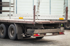 Rear fragment empty truck cargo trailer Stock Images