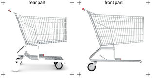 Rear and front parts of shopping cart Stock Images