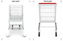 Rear and front parts of shopping cart on white Stock Image