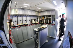 Rear galley of a Boeing 787 Dreamliner at Singapore Airshow February 2012 Stock Images