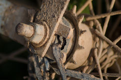 Rear Gear and Spokes of Muddy Rural Bike in Asia Stock Photo
