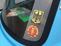 Rear-glass stickers of East German's car  depicting a coat arms Royalty Free Stock Photography