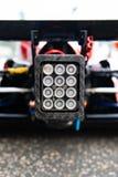 Rear light on single seater formula car detail. Detail of warning light signal on back of racing single seater formula car stock image