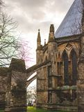 The rear of Lincoln Cathedral showing it`s arches, Lincolnshire royalty free stock photo