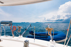 Rear of the luxury yacht with dingy and BBQ party equipments Stock Photography