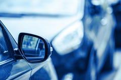 Rear mirror car. Closeup, abstract background Stock Photo