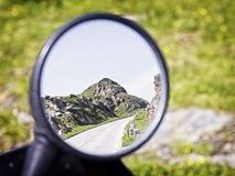Rear mirror. At a motorcycle Stock Photo