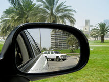 Rear mirror view. Rear view refflection on the mirror royalty free stock photos