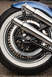 Rear motorcycle tyre. And exhaust Royalty Free Stock Photos