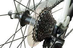 Rear mountain bike cassette on the wheel Stock Photo