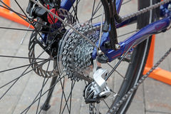 Rear mountain bike wheel detail Stock Image