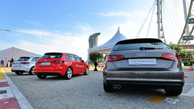 Rear of new Audi A3 Sportback on display at A3 Ttraktion Zone event Royalty Free Stock Photos
