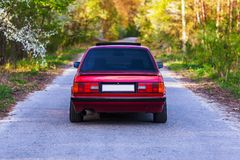 The rear of the old, red, German car.  royalty free stock images